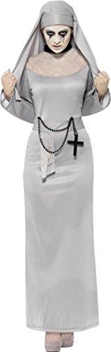 Smiffys Damen Halloween Fancy Kleid Sexy Gespenst, Gothic Zombie Nonne Kostüm Outfit, Grau