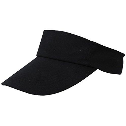SODIAL(R) Uomo Donna nera Spiaggia Tennis nuova visiera regolabile Sole del cappello di sport