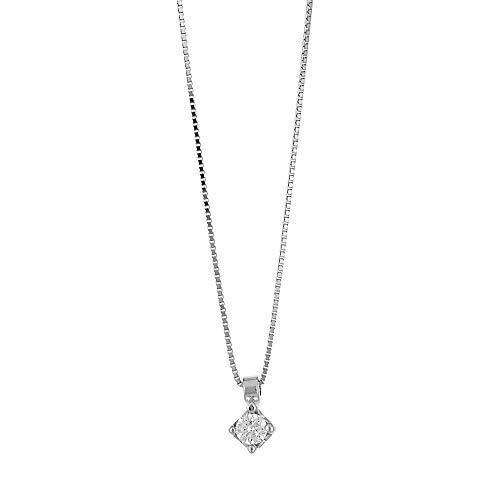 Gioielli di Valenza - Collana Punto Luce in Oro Bianco 18k con Diamante ct. 0,12 - PU03012BB