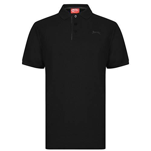 Slazenger Herren Poloshirt Polohemd Kurzarm Kragen-Ansatz Sommer Freizeit Top Schwarz XXXX Large
