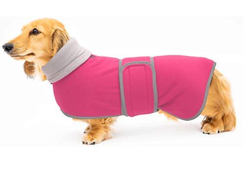 MOREZI Hundemantel Kostüm Perfekt für Dackel Hund Wintermantel mit gepolstertem Fleecefutter und hohem Kragen Hund Schneeanzug mit verstellbaren Bändern