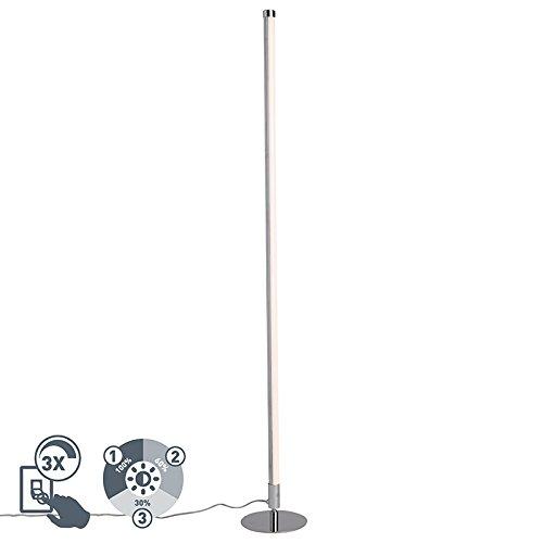 QAZQA Modern Moderne Stehleuchte/Stehlampe/Standleuchte/Lampe/Leuchte LED chrom - Line-up Dimmer/Dimmbar/Innenbeleuchtung/Wohnzimmerlampe/Schlafzimmer Kunststoff/Stahl Rund / (nicht a