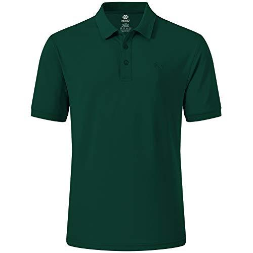 MoFiz Herren Poloshirt Kurzarm Baumwolle Polohemd Sport Polo Sommershirts Atmungsaktiv Grasgrün XL