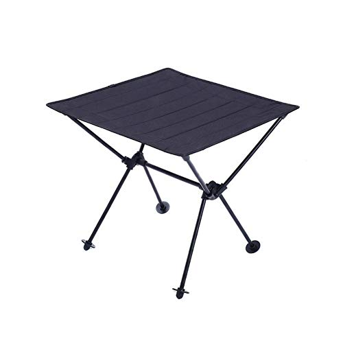 Gyfhmy Lichtgewicht 600D Oxford draagbare campingtafel, houder van aluminiumlegering, gemakkelijk te vervoeren, compact oprollen in een tas, voor strandwandelingen en reizen buitenshuis, zwart