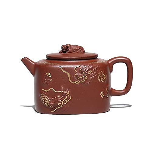 Juego de té Zisha de olla de arcilla púrpura Yixing de 300 ml, utensilios para beber, té, bebedero inferior hecho a mano, dragón verde y rugido de tigre