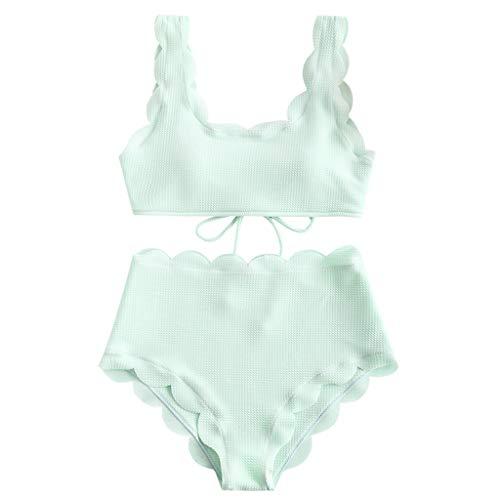LODDD Women Two Piece Swimsuit Push Up Tankini Sets Plus Size Wavy Bandage Fresh Beachwear Bikini Set Green
