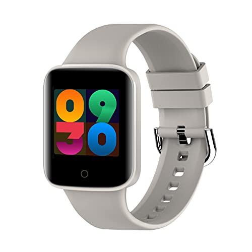 Relojes inteligentes, pantalla táctil completa de 1.3 ', podómetro a prueba de agua IP67, reloj inteligente para teléfonos Android y teléfonos iOS, reloj fitness tracker con monitor de sueño, gris