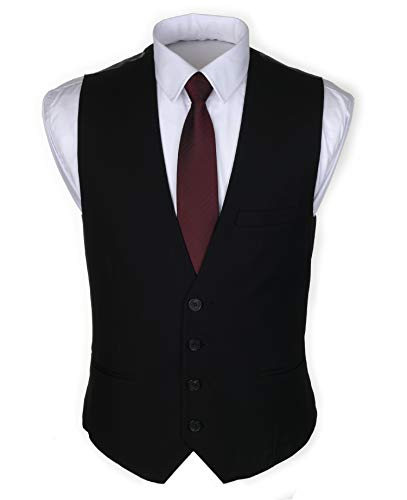 Ruth&Boaz Men's 3Pockets 4Button Business Suit Waistcoat