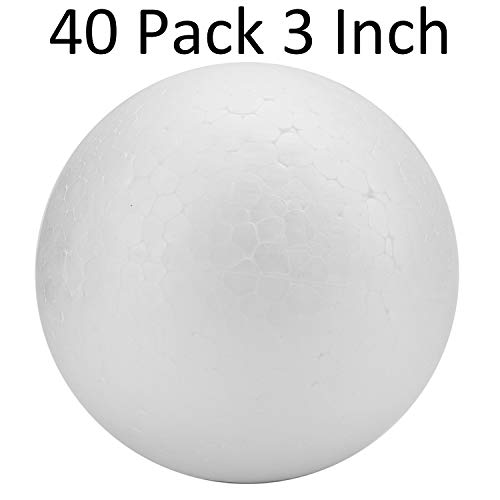 Tosnail 40 Pack 3-Inches Solid Styrofoam Balls Foam Balls for Arts and Crafts, Floral Arrangement, Wedding Centerpieces, Quilted Ornaments Making
