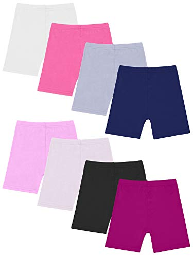 Resinta 8 Pack Black Dance Shorts Girls Bike Short Breathable and Safety 8 Color (White,Black,Gray,Pink,Complexion,deep Purple,Navy,Rose, 6-7 Years)