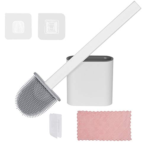 Vicloon Toilettenbürsten, WC Bürste und Halter mit Putztuch, Silikon Klobürste und Langer Stiel klobürste Aufgehängt für Badezimmer oder Gäste-WC - Weiß