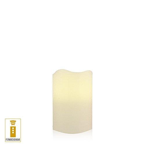 Lichtdekor LED Echtwachskerze 7,5 x 10 cm Timer Fernbedienung Elfenbein