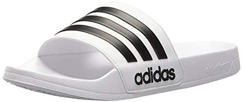 adidas Men's Adilette Shower Slide Sandal, Black/White, 12 M US