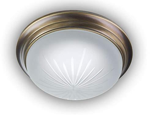 Plafonnier à LED Bol rond Ø 25 cm en verre satiné avec un Bague décorative de plafond dans laiton antique classique incurvé, Belle lampe Vestibule LED avec fermeture à baïonnette