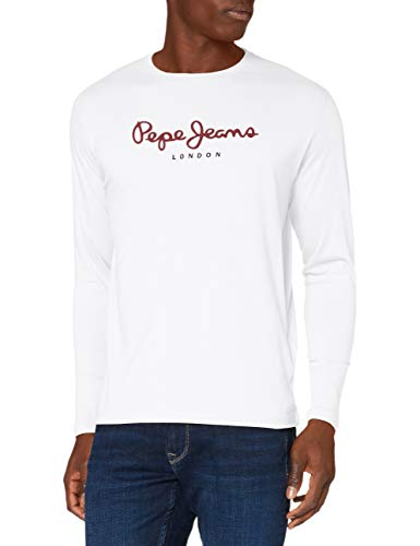 Pepe Jeans Eggo Long PM501321 T-Shirt, Bianco (White 800), Medium Uomo