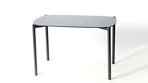 Möbel Akut Tisch Veronique Esstisch Küchentisch 120x90 mit Glasplatte Stahlgestell dunkelgrau