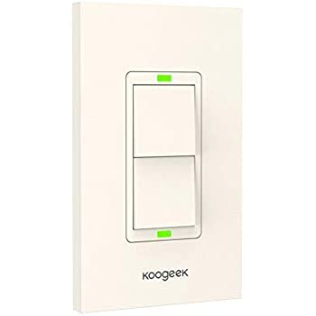 Koogeek Smart WiFi Light Switch Two Gang for Apple HomeKit with Siri Remote Light Control Switch on 2.4Ghz Network No Hub Required Single Pole