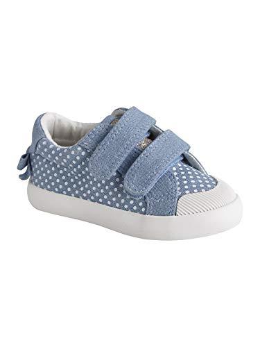 Vertbaudet Stoffschuhe für Baby Mädchen blau getupft 25