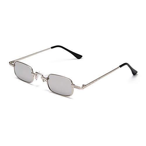 YOULIER Retro Trend Steam Punk Gafas de sol pequeñas cuadradas de metal pequeño marco gafas unisex talladas gafas de sol Uv400 1189-7