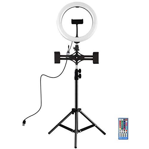 Heqianqian Anillo de luz para selfie, de 10.2 pulgadas, RBGW, regulable, control remoto, control remoto, LED, anillo de vídeo, con soporte de trípode para transmisión en vivo LED anillo de luz
