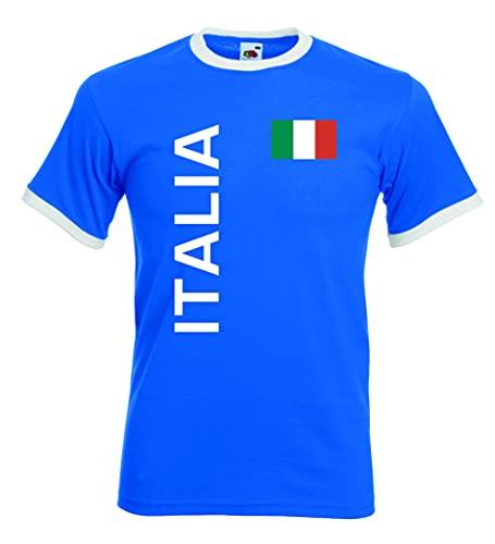 World-of-Shirt Italia/Italien Herren T-Shirt Retro Trikot royal S