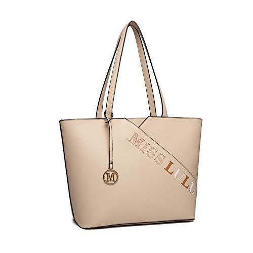 Miss Lulu Borsa da donna Elegante nero fantastico borsa a tracolla acquirente (beige)