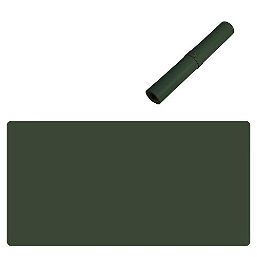 Vade de escritorio grande de piel, impermeable, antideslizante, protección para escritorio, escritorio, escritorio, escritorio, escritorio, para oficina y casa, color verde oscuro, 140 x 70 cm