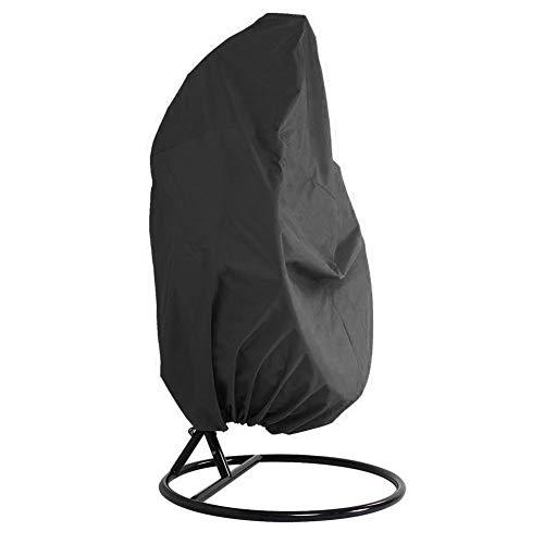 SUPEWOLD Abdeckung für Hängesessel, 420D Oxford-Gewebe, wasserdicht, Veranda, Terrasse, Kokon, Gartenmöbel, Schutzhülle mit elastischem Saum und Kordelzügen (schwarz)