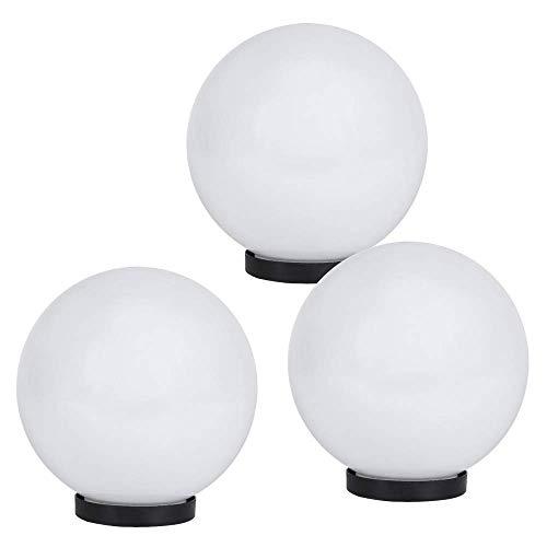 LHG 3er Set Kugelleuchten | Dekoleuchten weiß IP44 | 3x Kugel Ø 20 | Gartenlampe Außen | Terrassenlampe 230 Volt | Kugellampen mit Bodenplatte | Leuchte für E27 Leuchtmittel