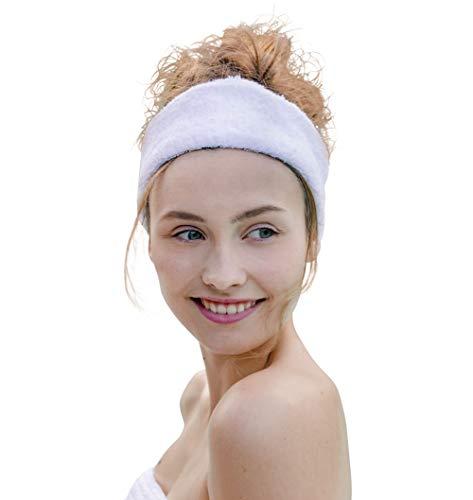 Carenesse Kosmetik Haarband Frottee weiß I OneSize Kosmetik Stirnband mit elastischem Gummibund aus 100% Baumwolle I Dickes & Flauschiges Haarband 7 cm breit I Saugfähig &...