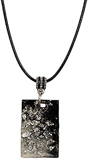 AGA Glittery Rectangle Pendant Necklace for Women - Black and Silver