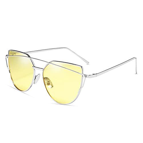Gafas De Sol Diseñador De La Marca Gafas De Sol Ojo De Gato para Mujer Gafas Reflectantes De Metal Vintage para Mujer Espejo Retro C14-Plata-Amarillo