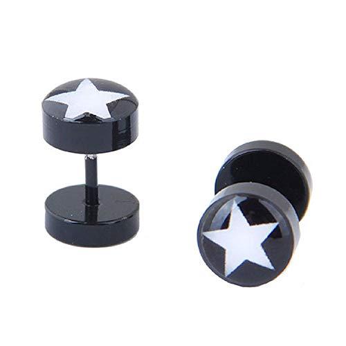 Pendientes de acero de titanio de moda coreana para hombres personalidad dominante Pendientes con mancuernas para niños de moda personalidad estrella pendientes negros