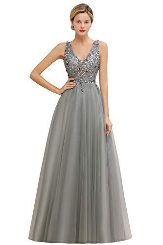 MisShow Damen Neu Ballkleider Elegant Tüll Abendkleid Maxilang Tief V Ausschnitt Abschlusskleid Silber 32