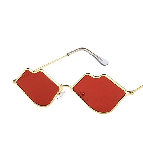 GHVJHBJBH Gafas de Sol Mujer Gafas de Sol con Forma de Labios Gafas de Sol con Montura roja Diseñador de la Marca Cute Cat Eye Small Sun Glasses Fashion Vintage UV400 Eyewear Mirror Shades