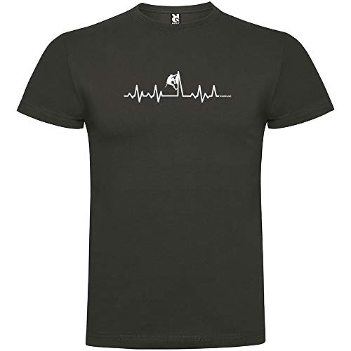 Camiseta Montañismo Climbing Heartbeat Manga Corta Hombre Plomo S