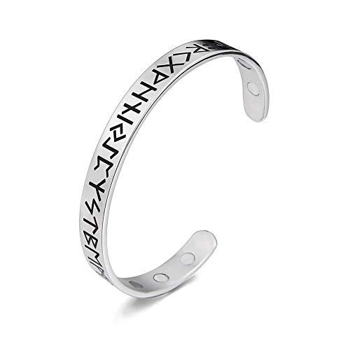 Amaxer 24 Runen Magnettherapie Armband Edelstahl Unisex Amulett Schutz Wikinger Armreif