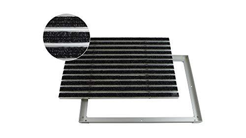 EMCO Eingangsmatte DIPLOMAT Rips anthrazit 12mm + ALU Rahmen Schmutzfangmatte Fußabtreter Antirutschmatte, Größe:750 x 500 mm