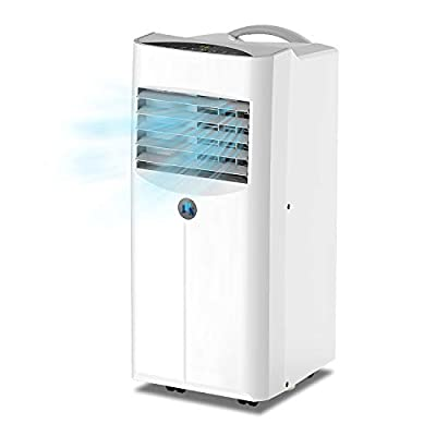 JHS 10,000 BTU Portable Air Conditioner 3-in-1 Floor AC Unit with 2 Fan Speeds, Remote Control and Digital LED Display, Cover up to 300 Sq. Ft, White