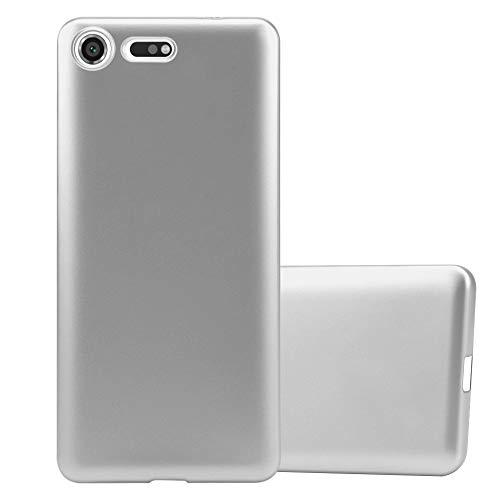 Cadorabo Custodia per Sony Xperia XZ Premium in Argento Metallico - Morbida Cover Protettiva Sottile di Silicone TPU con Bordo Protezione - Ultra Slim Case Antiurto Gel Back Bumper Guscio