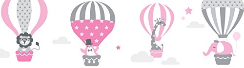 lovely label Bordüre selbstklebend HEISSLUFTBALLONS ROSA/GRAU - Wandbordüre Kinderzimmer/Babyzimmer mit Tieren - Wandtattoo Schlafzimmer Mädchen & Junge – Wanddeko Baby/Kinder
