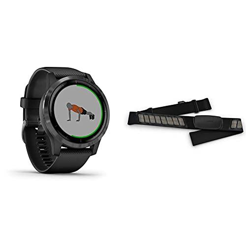 Garmin Vivoactive 4 Orologio Intelligente Smartwatch Gps, 45 Mm, Music, Garmin Pay, Wi-Fi, Nero (Black Slate) & Hrm-Dual Fascia Cardio Premium Ant+ E Bluetooth Ble, Nero, One Size