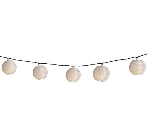 Dehner Solar Lichterkette Lampion, Länge 240 cm, Nylon/Kunststoff, weiß