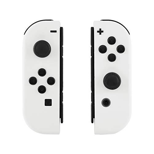 eXtremeRate Funda Carcasa reemplazable del Mando NS Joy-con Agarre Shell de Bricolaje Antideslizante con Botón Completo para Nintendo Switch No Incluye la Carcasa de la Consola (Blanco Esmerilado)
