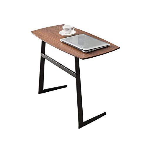 Table de lit, Tables en fer forgé en métal Petite table basse, table d'appoint portable mobile, table d'appoint de canapé en bois massif, petite table de café de bureau Couleur: Noyer couleur, taille: