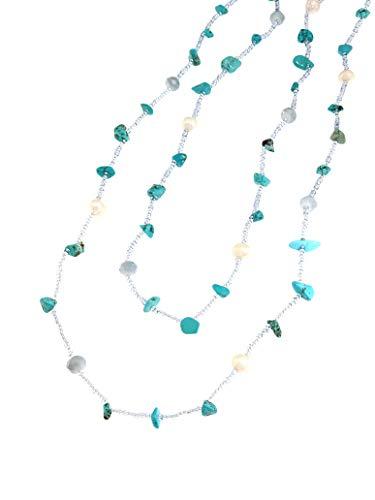 Linea Italia Gioielli - Collana Lunga Multifilo per Donna con Perle Bianche e Pietre Naturali Azzurre
