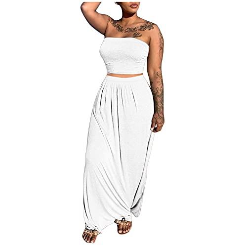 Xmiral Schlauchtop + Maxirock Damen Zweiteiliger Anzug Slit Beach Langer Rock Anzug(Weiß,S)