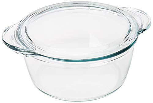 SIMAX Round heatproof dish with lid 3,3L Fuente redonda de 2,8 L con tapa plana, 2.8 litros, vidrio, Transparente