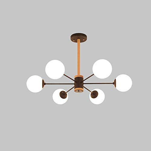 Nordic houten kroonluchter licht eiken plafondlamp, creatieve persoonlijkheid Magic Glass Bean Ball woonkamer lamp slaapkamer modern minimalistisch restaurant kroonluchter E27 fitting A zwart.