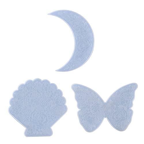 Wubxbvvx Luna/mariposa/concha tallada flor Coaster resina epoxi molde de silicona molde de silicona taza Mat fundición molde de silicona